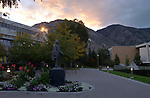 Brigham Young Statue at sunrise..Aug. 24, 2004..Photo by Steve Walters/BYU.