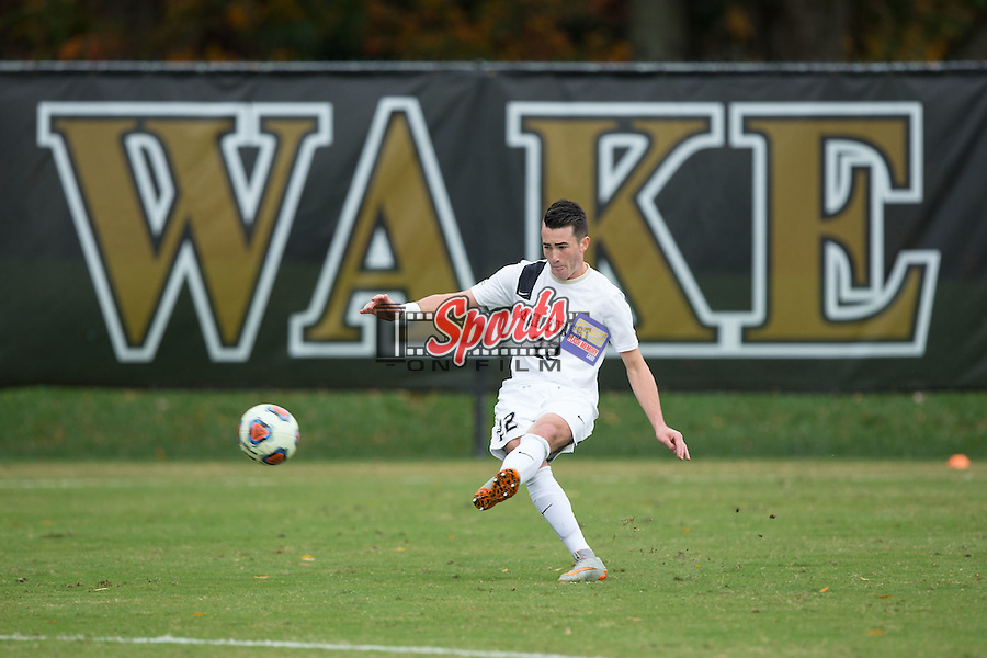 Jack Harrison (22) of the Wake Forest Demon Deacons takes a free kick during second half action against the Louisville Cardinals in the quarterfinal round of the 2015 ACC Men's Soccer Championship at Spry Soccer Stadium on November 8, 2015 in Winston-Salem, North Carolina.  The Demon Deacons defeated the Cardinals 2-1 in overtime..  (Brian Westerholt/Sports On Film)