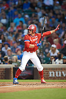 Jarred Kelenic (10) of Waukesha West High School in Waukesha, Wisconsin calls for time while at bat during the Under Armour All-American Game presented by Baseball Factory on July 29, 2017 at Wrigley Field in Chicago, Illinois.  (Mike Janes/Four Seam Images)