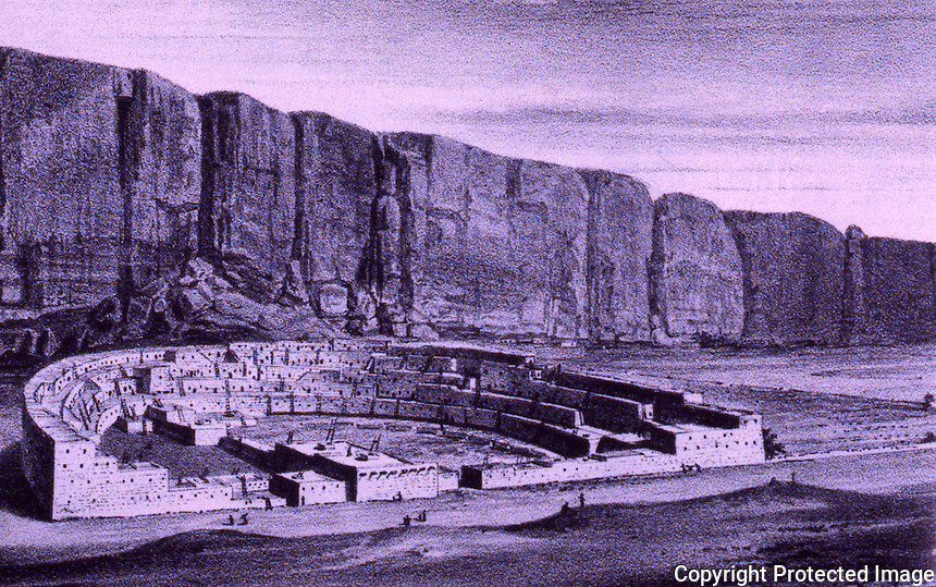 Chaco Canyon. Pueblo Bonito. William  H. Jackson Co., 1877. Reconstruction drawing.  6/11/96