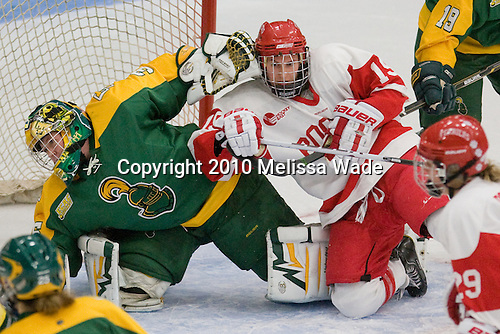 Lauren Dahm (Clarkson - 35), Jenelle Kohanchuk (BU - 19) - The Boston University Terriers defeated the visiting Clarkson University Golden Knights 3-2 on Saturday, October 23, 2010, at Walter Brown Arena in Boston, Massachusetts.