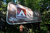 Lightening Creek Campsite Sign, Ross Lake National Recreation Area, North Cascades National Park, Washington, US