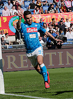 Dries Mertens of Napoli  celebrates after scores during the  italian serie a soccer match, AS Roma -  SSC Napoli       at  the Stadio Olimpico in Rome  Italy , March 31, 2019