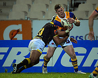 Losi Filipo tackles Luke Campbell during the Mitre 10 Cup rugby union match between Bay of Plenty and Wellington at Rotorua International Stadium in Rotorua, New Zealand on Thursday, 31 August 2017. Photo: Dave Lintott / lintottphoto.co.nz