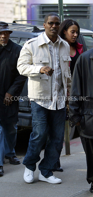 Actor Jamie Foxx spotted out and about in Midtown Manhattan. Foxx was seen playing pikaboo with our lensman. New York, March 24, 2004. Please byline: ACE Pictures.   ..*PAY-PER-USE*      ....IMPORTANT: Please note that our old trade name, NEW YORK PHOTO PRESS (NYPP), is replaced by our new name, ACE PICTURES. New York Photo Press and ACE Pictures are owned by All Celebrity Entertainment, Inc.......All Celebrity Entertainment, Inc:  ..contact: Alecsey Boldeskul (646) 267-6913 ..Philip Vaughan (646) 769-0430..e-mail: info@nyphotopress.com