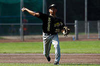 03 September 2011: Rashid Gerard of L&D Amsterdam Pirates throws to first base during game 1 of the 2011 Holland Series won 5-4 in inning number 14 by L&D Amsterdam Pirates over Vaessen Pioniers, in Hoofddorp, Netherlands.