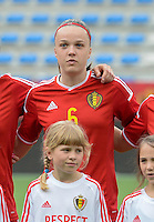 20150523 - SINT-TRUIDEN ,  BELGIUM : Belgian Tine De Caigny pictured during the friendly soccer game between the Belgian Red Flames and Norway, a preparation game for Norway for the Women's 2015 World Cup, Saturday 23 May 2015 at Staaien in Sint-Truiden , Belgium. PHOTO DAVID CATRY