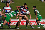 Lelia Masaga tries to break out of the Aaron Good tackle. Air New Zealand Cup rugby game between the Counties Manukau Steelers & Manawatu Turbos, played at Growers Stadium Pukekohe on Staurday September 20th 2008..Counties Manukau won 27 - 14 after trailing 14 - 7 at halftime.