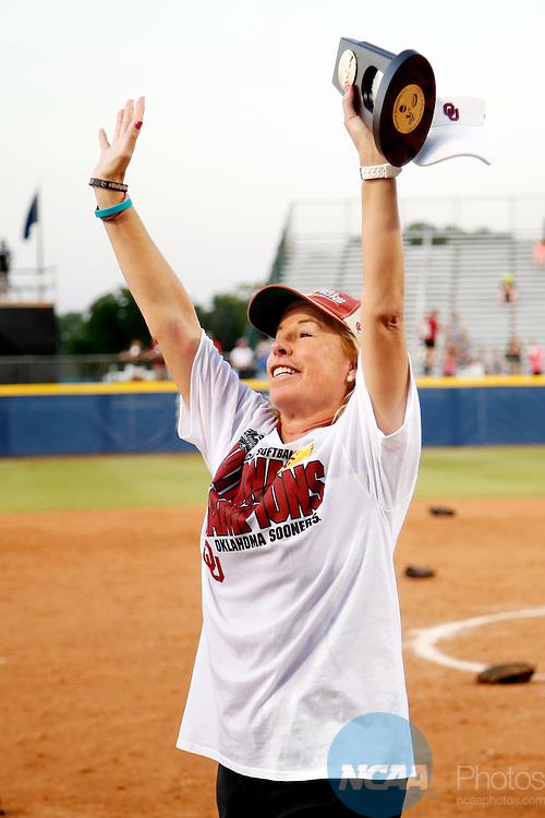 08 JUNE 2016:  Oklahoma coach Patty Gasso celebrates winning the Division I Women's Softball Championship is held at ASA Hall of Fame Stadium in Oklahoma City, OK.  Oklahoma defeated Auburn 2-1. Shane Bevel/NCAA Photos