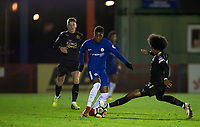 Hamza Choudhury of Leicester City U23 jumps in on Daishawn REDAN of Chelsea U23 during the Under 23 Premier League 2 match between Chelsea U23 and Leicester City U23 at the Electrical Services Stadium, Aldershot, England on 2 February 2018. Photo by Andy Rowland / PRiME Media Images.
