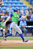 Lexington Legends right fielder Kort Peterson (8) swings at a pitch during a game against the Asheville Tourists at McCormick Field on May 29, 2017 in , North Carolina. The Legends defeated the Tourists 6-2. (Tony Farlow/Four Seam Images)