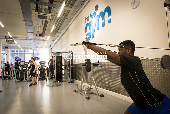 Gym at Hale Village, Tottenham Hale, North London. Hale Village is an urban village with sustainability and community at its heart, situated in the centre of Tottenham Hale, London. Its facilities, distinctive architecture, green spaces and environmental standing create a new generation of eco-district. There are over 1200 private and rental homes including a large amount of affordable housing. UK 2014