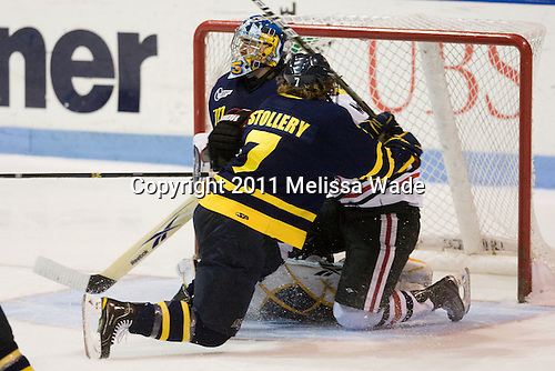 Karl Stollery (Merrimack - 7), Tyler McNeely (Northeastern - 94), Joe Cannata (Merrimack - 35) - The visiting Merrimack College Warriors defeated the Northeastern University Huskies 4-3 (OT) on Friday, February 4, 2011, at Matthews Arena in Boston, Massachusetts.