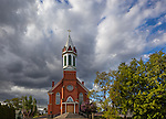 Lincoln County, WA: Clearing storm clouds over Mary Queen of Heaven Catholic Church in Sprague