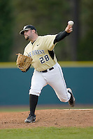 Relief pitcher Zach White #28 of the Wake Forest Demon Deacons in action versus the Duke Blue Devils at Jack Coombs Field March 29, 2009 in Durham, North Carolina. (Photo by Brian Westerholt / Four Seam Images)