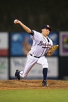 Danville Braves relief pitcher Evertz Orozco (30) in action against the Pulaski Yankees at American Legion Post 325 Field on August 1, 2016 in Danville, Virginia.  The Yankees defeated the Braves 4-1.  (Brian Westerholt/Four Seam Images)