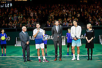 Februari 15, 2015, Netherlands, Rotterdam, Ahoy, ABN AMRO World Tennis Tournament, Final:  Richard Krajicek, tournament director with left Gerrit Zalm (ABNAMRO and winner Stanislas Wawrinka (SUI) right runner up Tomas Berdych (CZE) and Jolanda Jansen (AHOY)<br /> Photo: Tennisimages/Henk Koster
