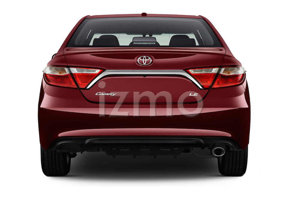 Straight rear view of 2017 Toyota Camry 2.5-Auto-LE 4 Door Sedan Rear View  stock images
