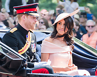 Prince Harry, Duke of Sussex, Meghan Markle, Duchess of Sussex <br /> Celebration marking The Queen's official birthday, Trooping The Colour, The Queen's official birthday, Buckingham Palace, London, England UK on June 09, 2018.<br /> CAP/JOR<br /> &copy;JOR/Capital Pictures