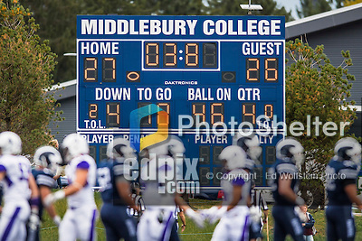 8 October 2016: The Middlebury College Panthers scoreboard displays the final score against the Amherst College Purple & White as the players shake hands at Alumni Stadium in Middlebury, Vermont. The Panthers edged out the Purple & While 27-26. Mandatory Credit: Ed Wolfstein Photo *** RAW (NEF) Image File Available ***
