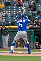 Matt Reynolds (5) of the Las Vegas 51s at bat against the Salt Lake Bees in Pacific Coast League action at Smith's Ballpark on September 4, 2016 in Salt Lake City, Utah. The Bees defeated the 51s 4-3. (Stephen Smith/Four Seam Images)