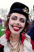 Woman age 27 dressed up at In the Heart of the Beast May Day Festival and Parade.  Minneapolis  Minnesota USA