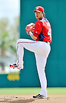 10 March 2012: Washington Nationals' starting pitcher Chien-Ming Wang on the mound against the New York Mets at Space Coast Stadium in Viera, Florida. The Nationals defeated the Mets 8-2 in Grapefruit League play. Mandatory Credit: Ed Wolfstein Photo