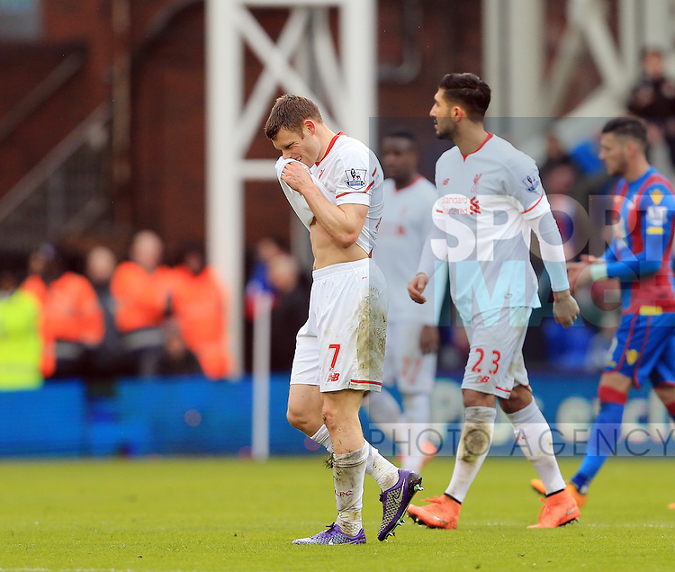 Liverpool's James Milner looks on dejected after getting sent off<br /> <br /> - English Premier League - Crystal Palace vs Liverpool  - Selhurst Park - London - England - 6th March 2016 - Pic David Klein/Sportimage
