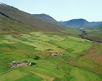 Möðruvellir og Hríshóll séð til suðurs, enn framar eyðijörðin Skriða,  Eyjafjarðarsveit áður Saurbæjarhreppur  /   Modruvellir and Hrisholl viewing south, former farmsite Skrida slightly south of the two farms, Eyjafjardarsveit former Saurbaejarhreppur.