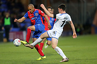 Connor Jennings of Tranmere Rovers and Elliott Romain of Dagenham during Tranmere Rovers vs Dagenham & Redbridge, Vanarama National League Football at Prenton Park on 11th November 2017