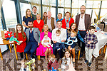 The christening of baby Riley Sugrue from Banna in the Ballyroe Heights Hotel on Saturday.<br /> Seated l to r: John Breen (GF), Trish, Riley, Eoin and Noah Sugrue and Eimear Costello (GM).