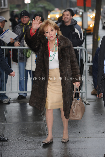 WWW.ACEPIXS.COM<br /> March 26, 2015 New York City<br /> <br /> Barbara Walters arriving to a taping of an appearance on 'The View' on March 26, 2015 in New York City.<br /> <br /> Please byline: Kristin Callahan/AcePictures<br /> <br /> ACEPIXS.COM<br /> <br /> Tel: (646) 769 0430<br /> e-mail: info@acepixs.com<br /> web: http://www.acepixs.com