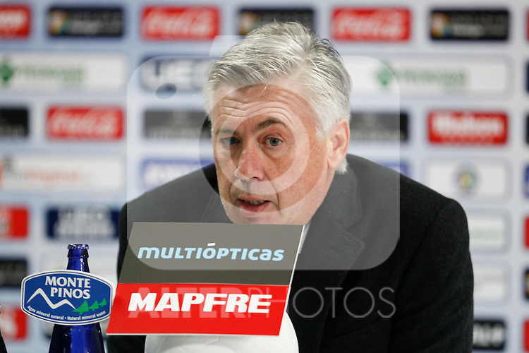 Real Madrid´s coach Carlo Ancelotti during a press conference after La Liga match at Coliseum Alfonso Perez stadium  in Getafe, Spain. January 18, 2015. (ALTERPHOTOS/Victor Blanco)