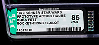 BNPS.co.uk (01202 558833)<br /> Pic: Propstore/BNPS<br /> <br /> An incredibly rare Star Wars action toy that never made it to sale for safety fears is now expected to sell for £100,000.<br /> <br /> The plastic figure was an early prototype of the cult bounty hunter character Boba Fett.<br /> <br /> It was made by makers Kenner in 1979 - a year before Boba Fett appeared for the first time in The Empire Strikes Back. <br /> <br /> The preliminary version of the 3.75ins figure came with a rocket-firing backpack that projected a small plastic missile through the air. <br /> <br /> But Kenner ultimately decided against mass-producing the toy amid fears children might swallow and choke on the piece of plastic.