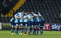 Pre match team huddle during the Sky Bet League 2 match between Notts County and Wycombe Wanderers at Meadow Lane, Nottingham, England on 10 December 2016. Photo by Andy Rowland.