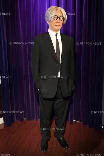 A wax figure of Ryuichi Sakamoto, Japanese musician on display at the Madame Tussauds Tokyo wax museum in Odaiba, Tokyo, June 15, 2015. The world famous British wax museum ''Madame Tussauds'' opened its 14th permanent branch in Tokyo in 2013 and exhibits international and local celebrities, sports players and politicians. New additions to the collection include wax figures of the Japanese figure skater Yuzuru Hanyu and the actor Benedict Cumberbatch. The wax figure of Benedict Cumberbatch will be exhibited until June 30th. (Photo by Rodrigo Reyes Marin/AFLO)