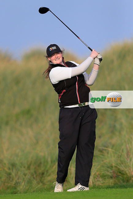 Gemma McCarthy (MU) on the 17th green during Round 1 of the Irish Intervarsity Championship at Rosslare Golf Club on Wednesday 4th November 2015.<br /> Picture:  Thos Caffrey / www.golffile.ie