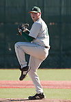 February 24, 2012:   Utah Valley Wolverines starting pitcherJeremy Gendlek throws against the Nevada Wolf Pack during their NCAA baseball game played at Peccole Park on Friday afternoon in Reno, Nevada.