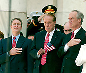Washington, D.C. - May 29, 2006 -- United States Senate Majority Leader Bill Frist (Republican of Tennessee), left, former United States Senator Bob Dole (Republican of Kansas), center, and United States Secretary of Interior Dirk Kempthorne, right, show their respects following United States President George W. Bush's remarks at the annual Arlington National Cemetery Memorial Day Commemoration at Arlington National Cemetery in Arlington, Virginia  on May 29, 2006. <br /> Credit: Ron Sachs  - Pool via CNP