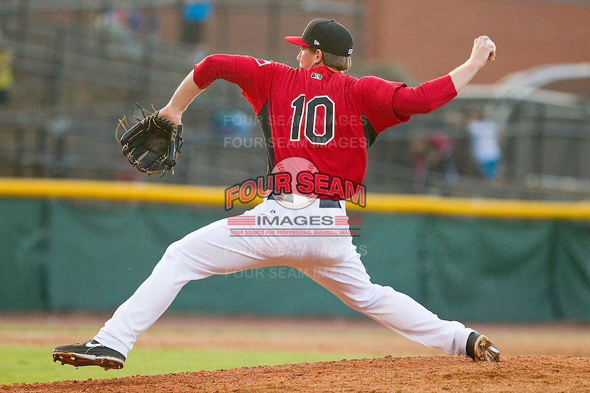 Hickory Crawdads relief pitcher Ryan Bores (10) in action against the Kannapolis Intimidators at L.P. Frans Stadium on May 25, 2013 in Hickory, North Carolina.  The Crawdads defeated the Intimidators 14-3.  (Brian Westerholt/Four Seam Images)