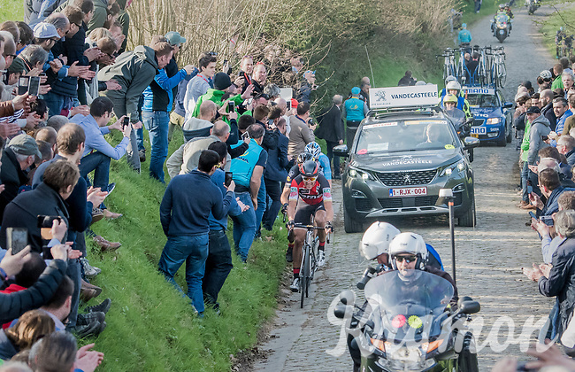 race leaders Greg Van Avermaet (BEL/BMC), Philippe Gilbert (BEL/Quick Step floors) &amp; Oliver Naesen (BEL/AG2R-LaMondiale) detached themselves from a bigger group on the Oude Kwaremont<br /> <br /> 60th E3 Harelbeke (1.UWT)<br /> 1day race: Harelbeke &rsaquo; Harelbeke - BEL (206km)