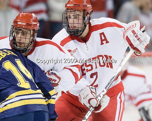 Joe Pereira (BU - 6), Eric Gryba (BU - 2) - The Boston University Terriers defeated the University of Michigan Wolverines 3-2 on Saturday, October 24, 2009, at Agganis Arena in Boston, Massachusetts.