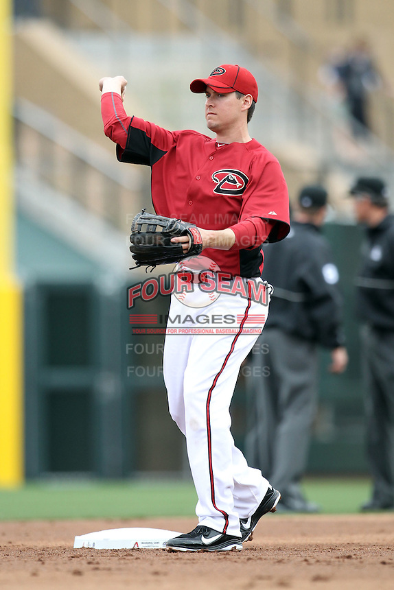 Kelly Johnson #2 of the Arizona Diamondbacks plays against the Colorado Rockies in the inaugural spring training game at Salt River Fields on February 26, 2011 in Scottsdale, Arizona. .Photo by:  Bill Mitchell/Four Seam Images.