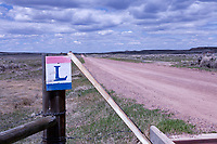 A Lincoln Highway marker identifies the roadbed east of Lyman, Wyoming.