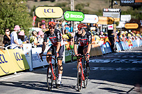 Roger Kluge (DEU/Lotto Soudal) and Frederik Frison (BEL/Lotto Soudal) rolling over the finish line<br /> <br /> Stage 5 from Gap to Privas 183km<br /> 107th Tour de France 2020 (2.UWT)<br /> (the 'postponed edition' held in september)<br /> ©kramon