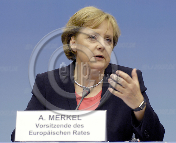 Brussels-Belgium - 23 June 2007---European Council / summit under German Presidency; here, briefing the press in the morning of the third day after / on successful negociations throughout the night: Angela MERKEL, Federal Chancellor of Germany and acting President of the European Council---Photo: Horst Wagner/eup-images