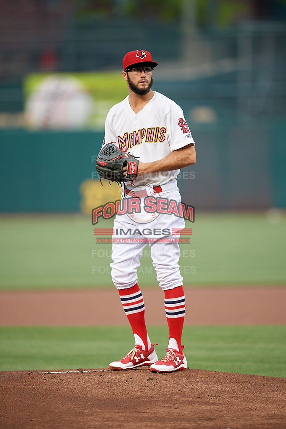 Memphis Redbirds starting pitcher Daniel Poncedeleon (73) gets ready to deliver a pitch during a game against the Round Rock Express on April 28, 2017 at AutoZone Park in Memphis, Tennessee.  Memphis defeated Round Rock 9-1.  (Mike Janes/Four Seam Images)