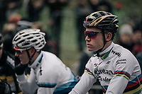 a focused CX world champion Wout Van Aert (BEL/Crelan-Charles) on the start grid<br /> <br /> Elite Men's race<br /> UCI CX World Cup Namur / Belgium 2017