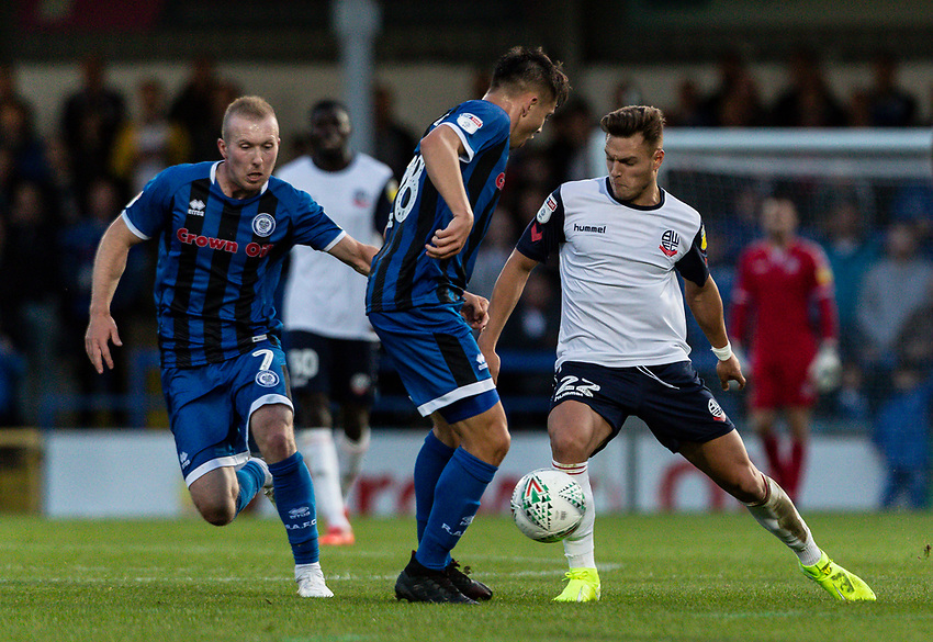 Bolton Wanderers' Dennis Politic (right) competing with Rochdale's Aaron Morley <br /> <br /> Photographer Andrew Kearns/CameraSport<br /> <br /> The Carabao Cup First Round - Rochdale v Bolton Wanderers - Tuesday 13th August 2019 - Spotland Stadium - Rochdale<br />  <br /> World Copyright © 2019 CameraSport. All rights reserved. 43 Linden Ave. Countesthorpe. Leicester. England. LE8 5PG - Tel: +44 (0) 116 277 4147 - admin@camerasport.com - www.camerasport.com