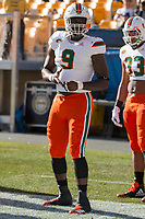 Miami Hurricanes defensive lineman Chad Thomas. The Pitt Panthers upset the undefeated Miami Hurricanes 24-14 on November 24, 2017 at Heinz Field, Pittsburgh, Pennsylvania.